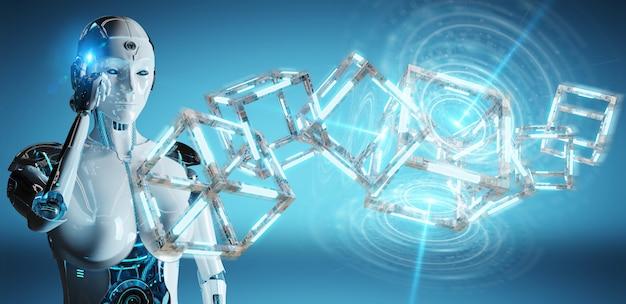 Weißer roboter, der zukünftige technologiestruktur schafft