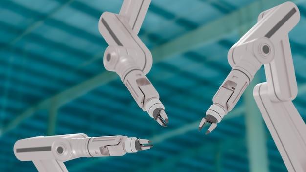 Weißer roboterarm in industriegebäuden, 3d rendern