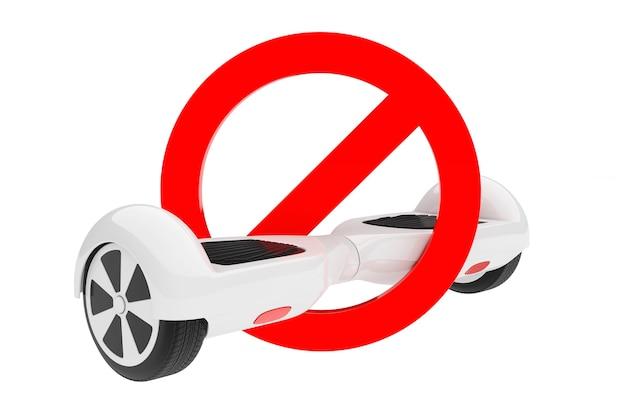 Weißer selbstabgleichender elektroroller im verbotenen roten warnzeichen auf weißem hintergrund. 3d-rendering
