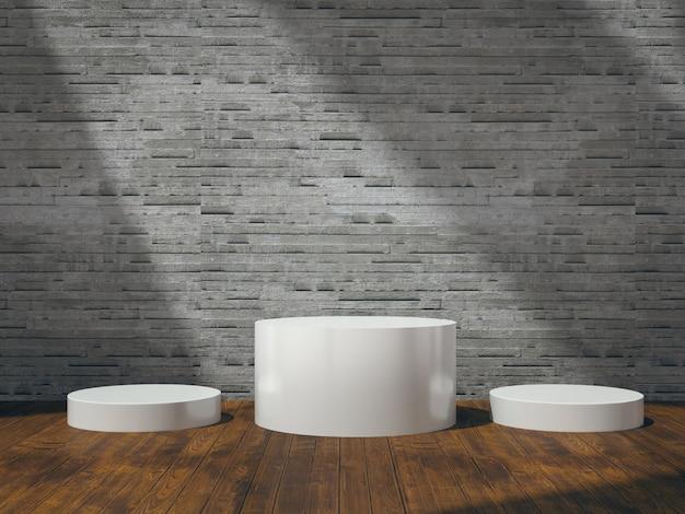 Weißer sockel für produktausstellung auf holzboden mit naturseitenlichtern an fliesenwand