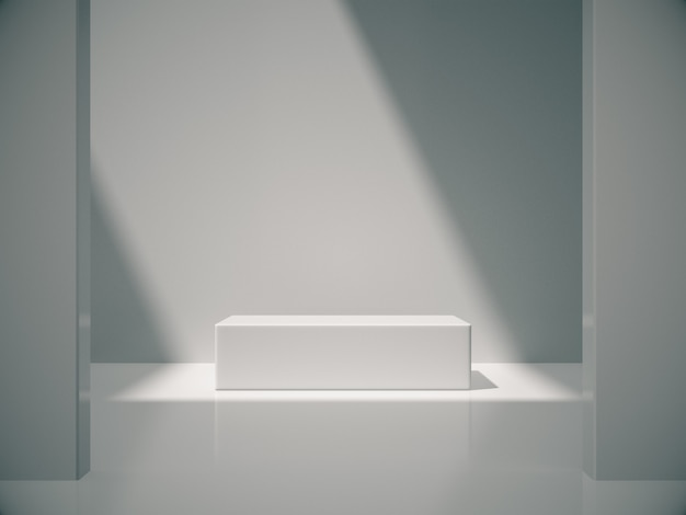Weißer sockel für produktausstellung im weißen raum