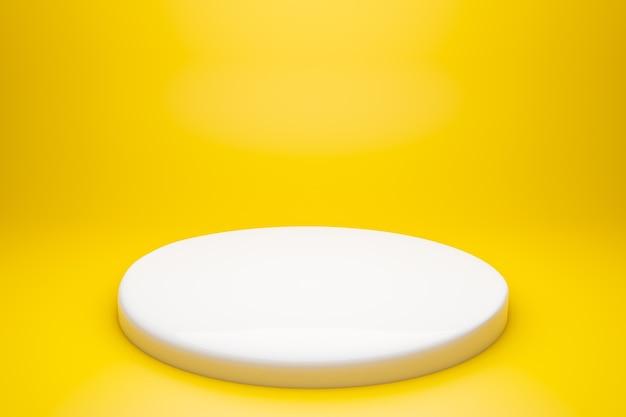 Weißer sockel isoliert auf gelb