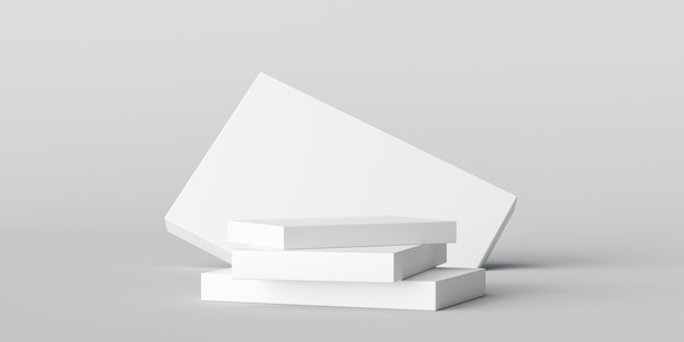 Weißer steinplattenprodukt-bühnenhintergrund oder podest-anzeige auf leerem raum für moderne kunst mit studio-schaufenster-hintergrund. 3d-rendering.