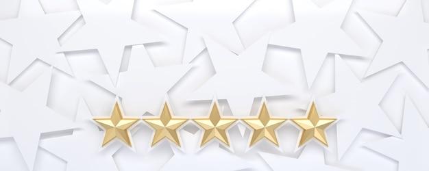 Weißer sternenhintergrund mit fünf-sterne-bewertung.