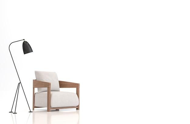 Weißer stoff sessel auf weißem hintergrund 3d-rendering-bild. es gibt beschneidungspfade auf einem sessel und einer lampe.