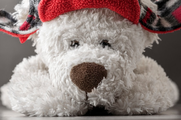 Weißer teddybär in einem roten hut. nahansicht.