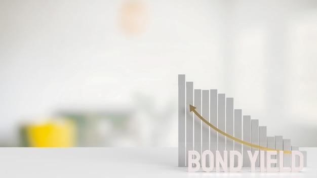 Weißer text anleihenrendite und diagramm für das 3d-rendering des geschäftskonzepts