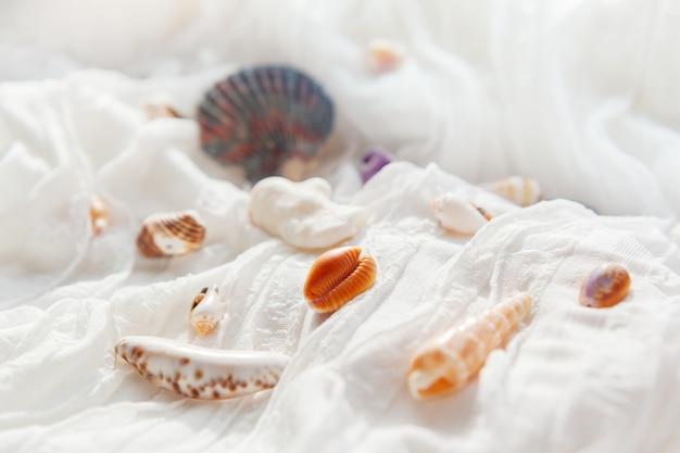 Weißer textilhintergrund mit verschiedenen oberteilen.