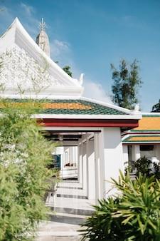 Weißer thailändischer tempel und baum