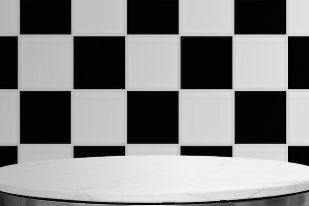 Weißer tischprodukthintergrund, schachbrettwanddesign