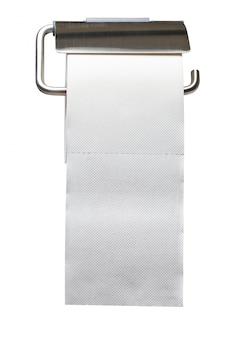 Weißer toilettenpapierhalter lokalisiert