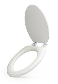 Weißer toilettensitz lokalisiert auf weißem hintergrund