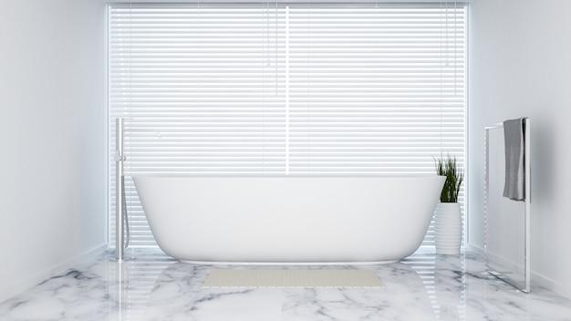 Weißer ton des badezimmers in der wohnung oder im hotel - wiedergabe 3d