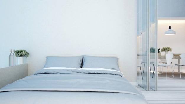 Weißer ton des schlafzimmers und des essbereiches im kondominium oder apartment