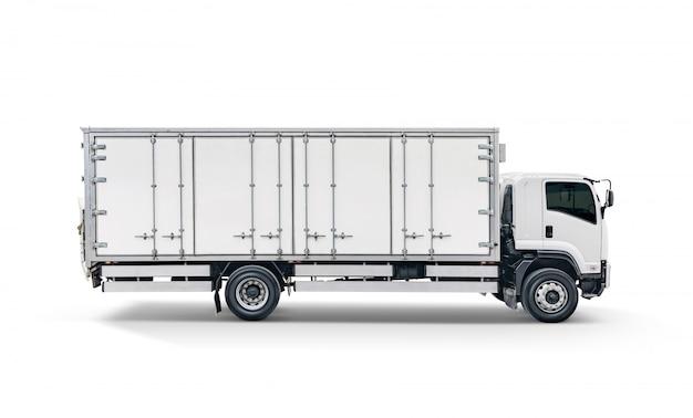 Weißer transportfracht-lkw oder behälterselbstautoanhänger lokalisiert auf weißem hintergrund