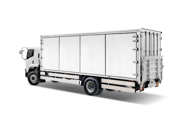 Weißer transportfracht-lkw oder behälterselbstautoanhänger