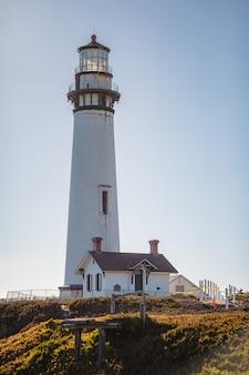 Weißer und brauner leuchtturm