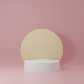 Weißer und gelber zylinder produktständer im rosa raum, studio-szene für produkt, minimales design, 3d-rendering
