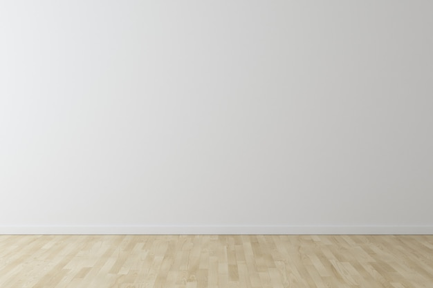 Weißer wandhintergrund mit holzfußboden