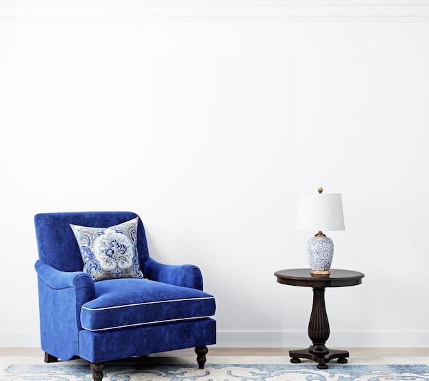 Weißer wandhintergrund und blauer sessel