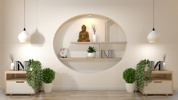 Weißer wandspott herauf leeren raum mit buch und vase und anlagen auf kabinett, decoaration auf japanischer art des regalwand-designs.
