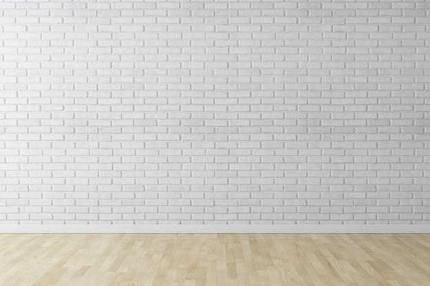 Weißer wandziegelsteinhintergrund mit holzfußboden