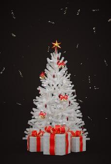 Weißer weihnachtsbaum der karte mit geschenkboxen auf schwarz