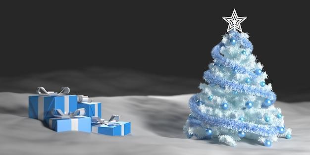 Weißer weihnachtsbaum im schnee neben geschenkboxen, 3d illustration