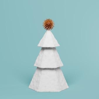 Weißer weihnachtsbaum mit dekoration auf blauem 3d übertragen