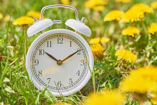 Weißer weinlesewecker im gras mit löwenzahnblumen. frist- und änderungszeitkonzept