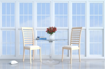 Weißer Wohnzimmerdekor mit hölzernem Stuhl, weißes Fenster, Kissen, Tabelle, rote Rose, Vase. 3d zu