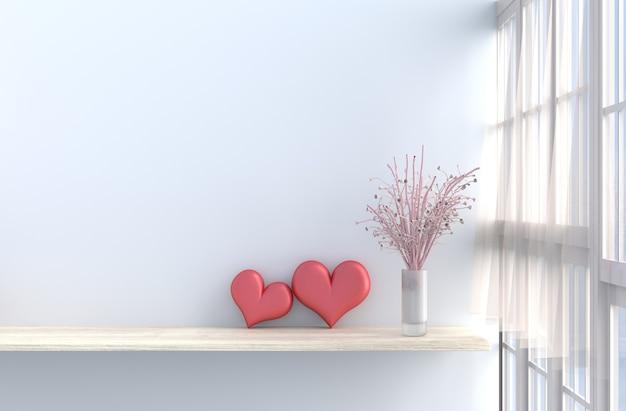 Weißer wohnzimmerdekor mit zwei herzen, fenster, rosa rose, drapieren.