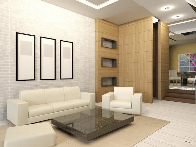 Weißer wohnzimmerinnenraum im modernen design