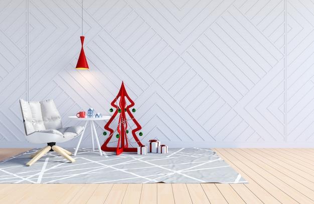 Weißer wohnzimmerinnenraum mit weihnachtsbaum für weihnachtsfeiertag, wiedergabe 3d