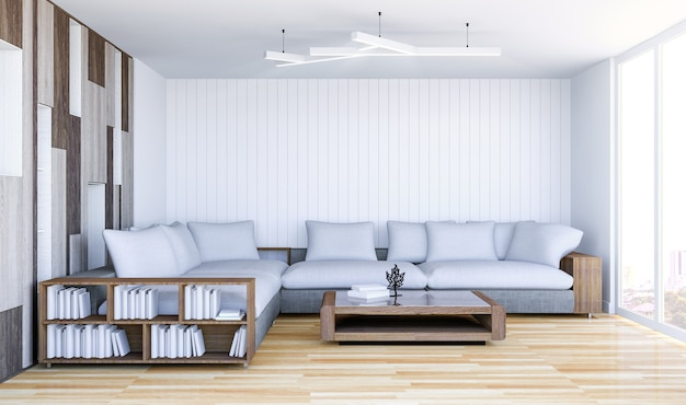 Weißer zeitgenössischer wohnzimmerinnenraum mit leerer wand, wiedergabe 3d