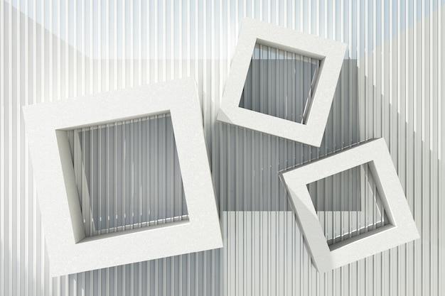 Weißer zementtexturrahmen mit sonnenlicht auf weißem blechhintergrund.