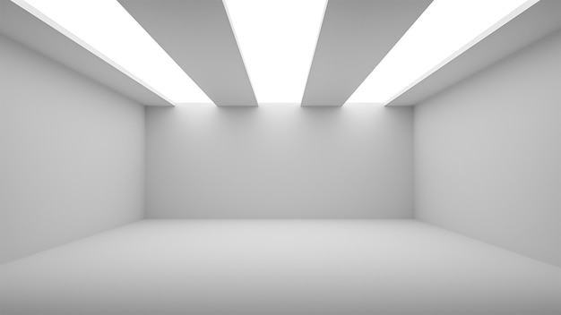 Weißer zimmerhintergrund des studios mit scheinwerfer