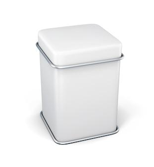 Weißer zinnkastenverpackungsbehälter für tee oder kaffee lokalisiert auf weiß. 3d-rendering.