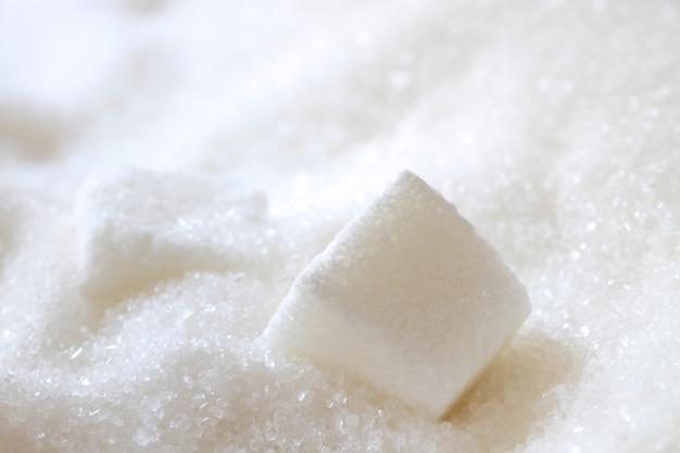 Weißer zuckerwürfel, makrofoto