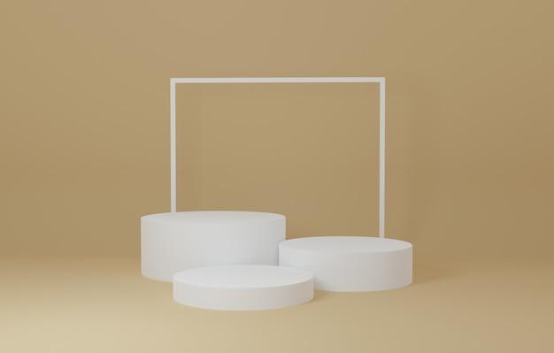 Weißer zylinder produktständer im gelben raum, studio-szene für produkt, minimales design, 3d-rendering