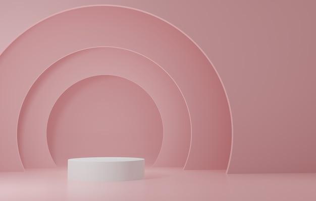 Weißer zylinder produktständer im rosa raum, studio-szene für produkt, minimales design, 3d-rendering