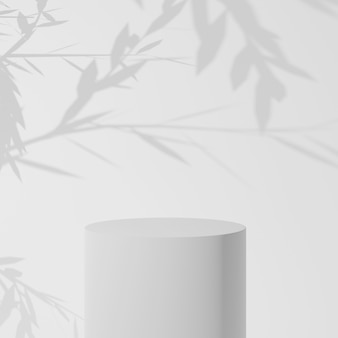 Weißer zylinder produktständer im weißen raum mit baum, studio-szene für produkt, minimales design, 3d-rendering