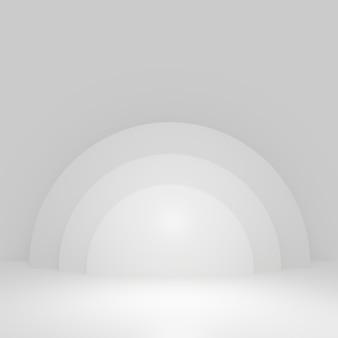 Weißer zylinder produktständer im weißen raum, studio-szene für produkt, minimales design, 3d-rendering