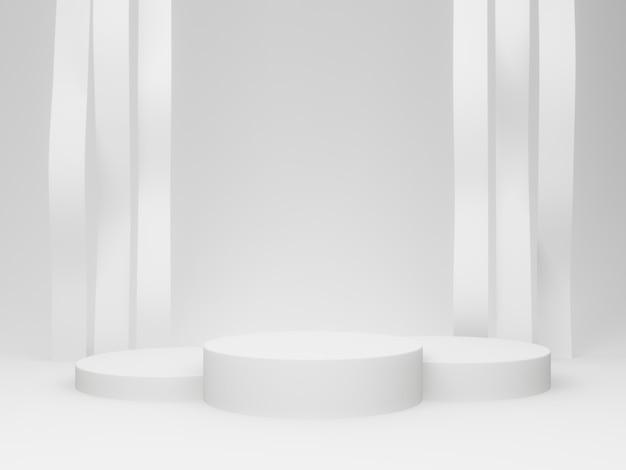 Weißes 3d-podium mit gewelltem hintergrund