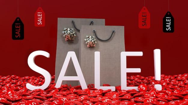 Weißes 3d-verkaufsschild, das aus vielen $ roten pillen vor 2 einkaufstaschen und einigen verkaufsanhänger hervorgeht