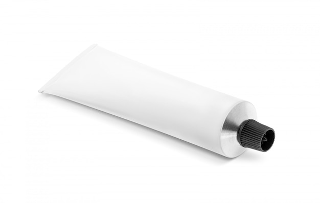 Weißes aluminiumrohr für kosmetik- oder gesundheitspflegeprodukte