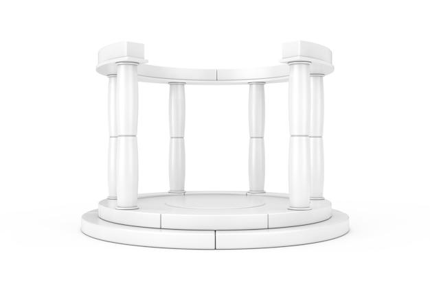 Weißes antikes podium mit säulen im clay-stil auf weißem hintergrund. 3d-rendering