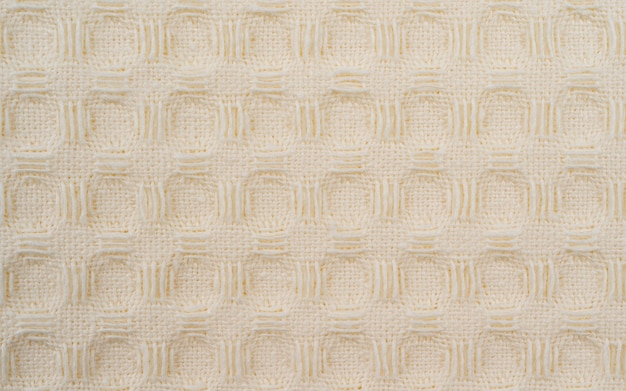Weißes badetuch waffel makro textur hintergrund, waffelgewebe küchen- oder handtücher, heimtextilien