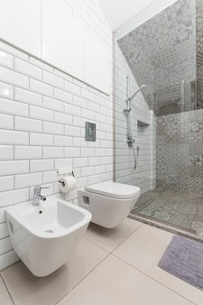 Weißes badezimmer mit wc und dusche