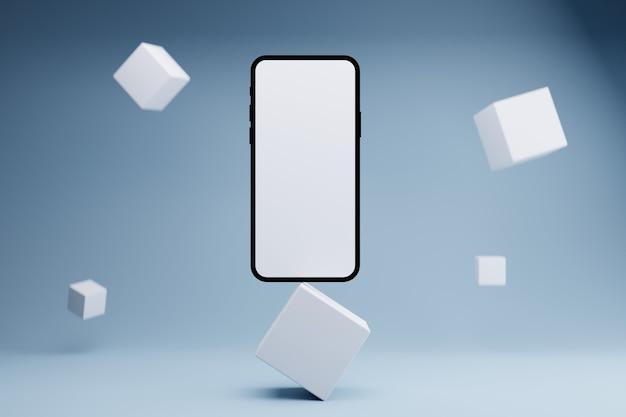 Weißes bildschirm telefon produkt modernes konzept
